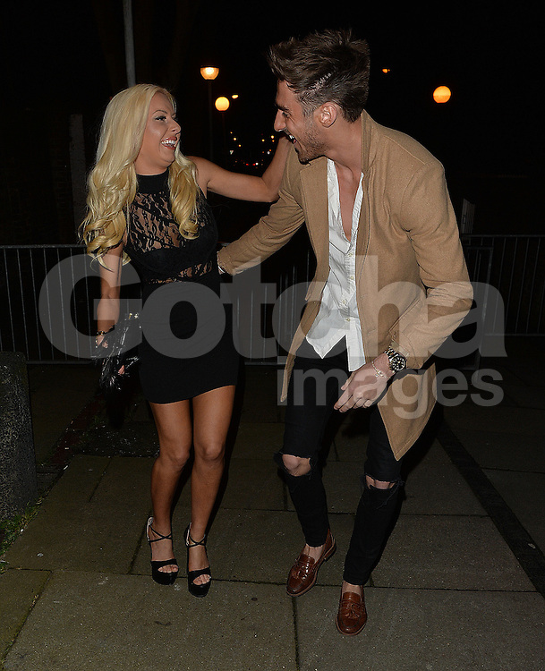 Ex On The Beach star Holly Rickwood and boyfriend leaving former Stereo Kicks singer Jake Sims' record launch at Islington Hall in London, UK. 15/02/2016<br />