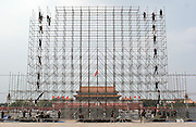 Chinese workers erect scaffolding on Tiananmen Square in Beijing, China, August, 2, 2007.