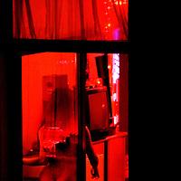 Germany,  Frankfurt.               Room with a view in the red light district.                          Photo: Klaas Jan van der Weij