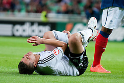 Marc Oliver Kempf of Germany lying on the ground after crash with Corentin Jean of France during the UEFA European Under-17 Championship Group A match between Germany and France on May 10, 2012 in SRC Stozice, Ljubljana, Slovenia. Germany defeated France 3:0. (Photo by Matic Klansek Velej / Sportida.com)