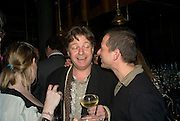 DANNY MOYNIHAN AND GIGI GIANUZZI , Dinner after the opening of Larry Clark. Los Angeles 2003- 2006. Simon Lee Gallery.  17 Berkeley st. London. 5 February 2008.  *** Local Caption *** -DO NOT ARCHIVE-© Copyright Photograph by Dafydd Jones. 248 Clapham Rd. London SW9 0PZ. Tel 0207 820 0771. www.dafjones.com.