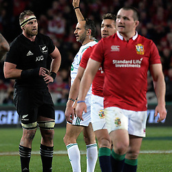 Kieran Read talks to referee Romain Poite after a late penalty to the All Blacks during the 2017 DHL Lions Series rugby union 3rd test match between the NZ All Blacks and British & Irish Lions at Eden Park in Auckland, New Zealand on Saturday, 8 July 2017. Photo: Dave Lintott / lintottphoto.co.nz