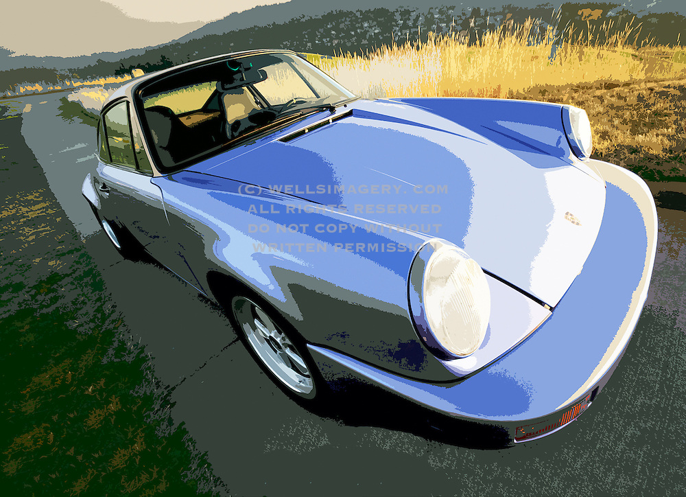 Image of a blue sports car in Seattle, Washington, Pacific Northwest, property released, 1974 Porsche 911 RS look