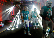 Miami Dolphins quarterback Ryan Tannehill (17) prepares to walk out from the locker room to the field before the game between the Miami Dolphins' and the Atlanta Falcons at Sun Life Stadium on Saturday, August 29, 2015.
