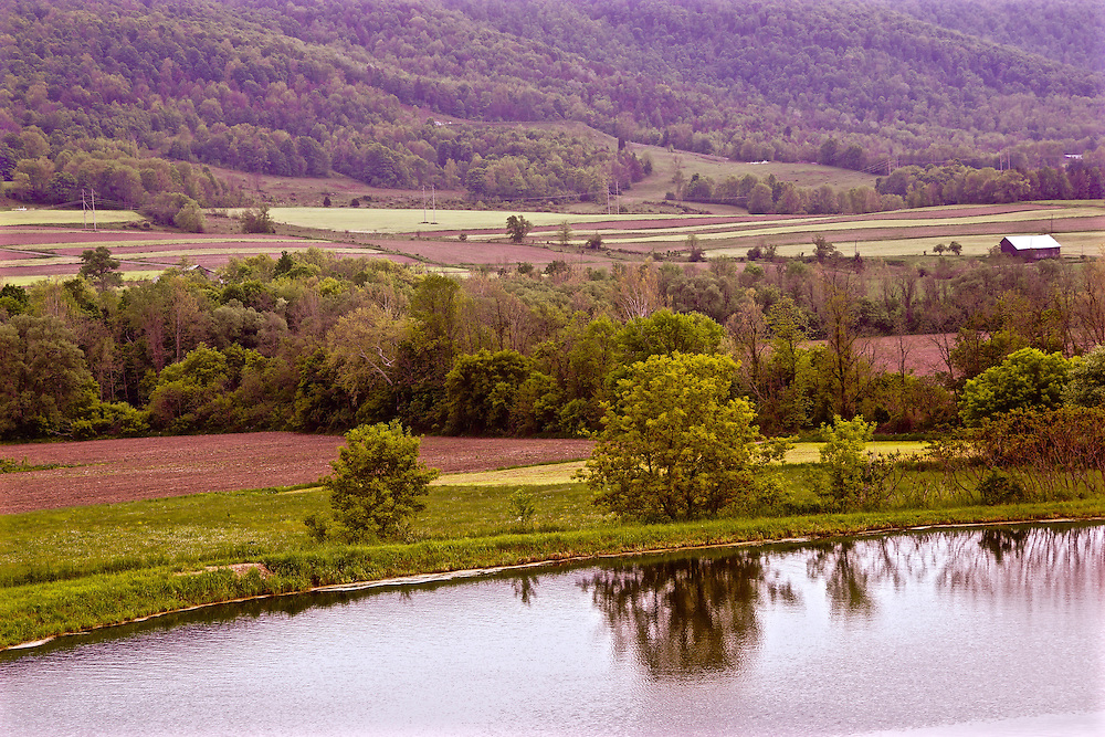 Northcentral Pennsylvania, farm, lake and mountain, Bradford County