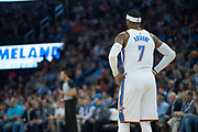 OKLAHOMA CITY, OK - FEBRUARY 26: Oklahoma City Thunder Forward Carmelo Anthony (7) waiting for free throws versus Orlando Magic at Chesapeake Energy Arena Oklahoma City, OK (Photo by Torrey Purvey/Icon Sportswire)