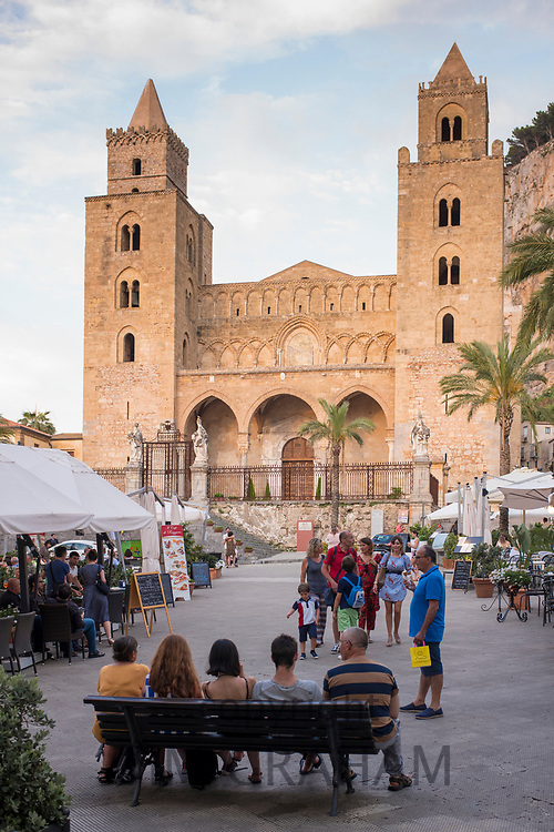 UNESCO World Heritage Site Cathedral church, Duomo basilica, Norman style architecture, in Cefalu, Northern Sicily, Italy