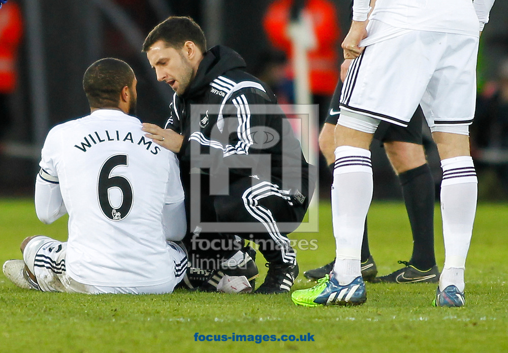 Ashley Williams of Swansea City receive treatment to his shoulder during the Barclays Premier League match at the Liberty Stadium, Swansea<br /> Picture by Mike Griffiths/Focus Images Ltd +44 7766 223933<br /> 17/01/2015