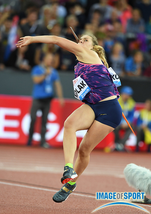 Sara Kolak (CRO) places third in the women's javelin at 211-6 (64.47m) during the Weltklasse Zurich in an IAAF Diamond League meeting at Letzigrund Stadium in Zurich, Switzerland on Thursday, August 24, 2017.   (Jiro Mochizuki/Image of Sport)