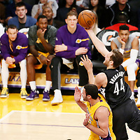 15 November 2016: Brooklyn Nets guard Bojan Bogdanovic (44) is fouled by Los Angeles Lakers forward Larry Nance Jr. (7) during the LA Lakers 125-118 victory over the Brooklyn Nets, at the Staples Center, Los Angeles, California, USA.