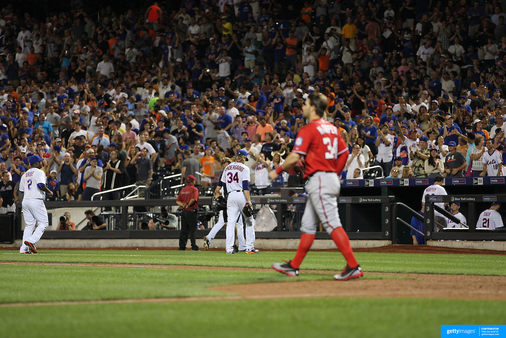 Bryce Harper, Washington Nationals, is struck out by Pitcher Noah Syndergaard, New York Mets, in the eigth inning during the New York Mets Vs Washington Nationals MLB regular season baseball game at Citi Field, Queens, New York. USA. 2nd August 2015. Photo Tim Clayton