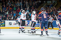 KELOWNA, CANADA - FEBRUARY 6: Tyson Baillie #24 and Devante Stephens #21 of Kelowna Rockets celebrate a goal against the Kamloops Blazers during first period on February 6, 2015 at Prospera Place in Kelowna, British Columbia, Canada.  (Photo by Marissa Baecker/Shoot the Breeze)  *** Local Caption *** Tyson Baillie; Devante Stephens;