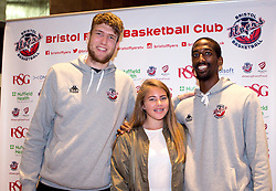 Michael Vigor and Hameed Ali of Bristol Flyers pose with a fan - Mandatory by-line: Robbie Stephenson/JMP - 12/09/2016 - BASKETBALL - Ashton Gate Stadium - Bristol, England - Bristol Flyers Sponsors Event