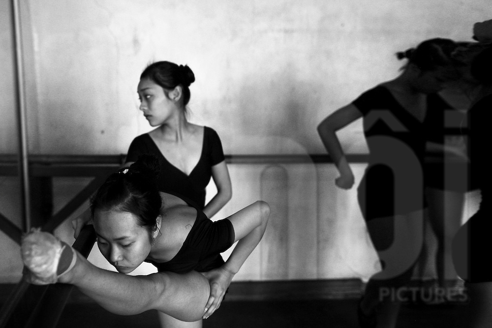 Vietnamese young ballet dancers training in Hanoi, Vietnam, Asia