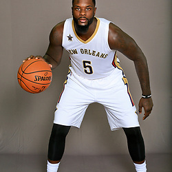 Sep 23, 2016; New Orleans, LA, USA; New Orleans Pelicans Lance Stephenson (5) poses for a portrait during media day at the Smoothie King Center. Mandatory Credit: Derick E. Hingle-USA TODAY Sports