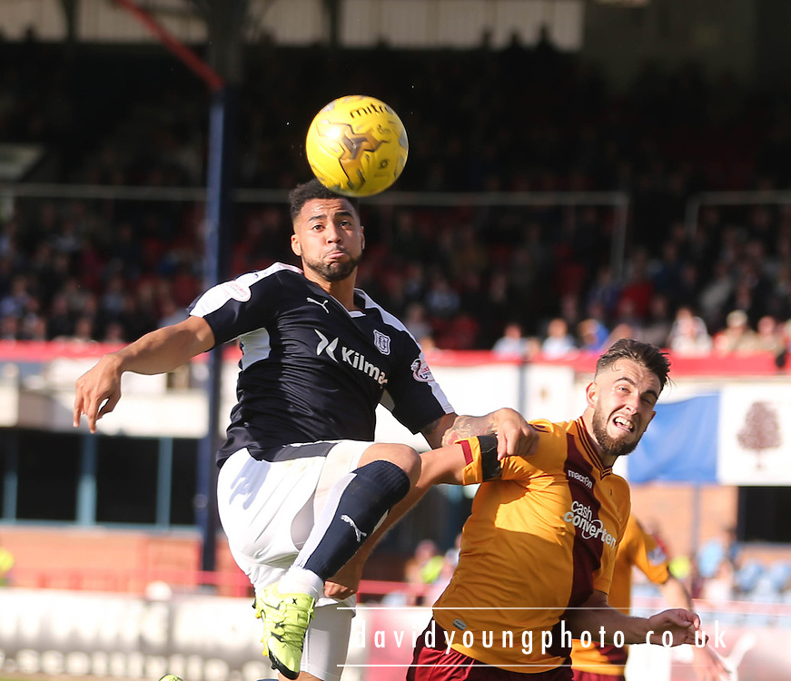 Dundee&rsquo;s Kane Hemmings and Motherwell&rsquo;s Kieran Kennedy - Dundee v Motherwell - Ladbrokes Premiership at Dens Park<br /> <br /> <br />  - &copy; David Young - www.davidyoungphoto.co.uk - email: davidyoungphoto@gmail.com
