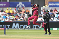 July 1, 2019 - Chester Le Street, County Durham, United Kingdom - West Indies' Oshane Thomas bowling during the ICC Cricket World Cup 2019 match between Sri Lanka and West Indies at Emirates Riverside, Chester le Street on Monday 1st July 2019. (Credit Image: © Mi News/NurPhoto via ZUMA Press)