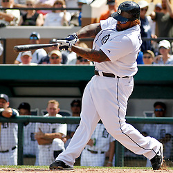 March 14, 2012; Lakeland, FL, USA; Detroit Tigers first baseman Prince Fielder (28) hits a two run homerun against the New York Mets during the bottom of the fourth inning of a spring training game at Joker Marchant Stadium. Mandatory Credit: Derick E. Hingle-US PRESSWIRE