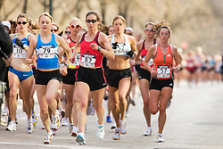 pack of runners after passing 2-mile mark of race