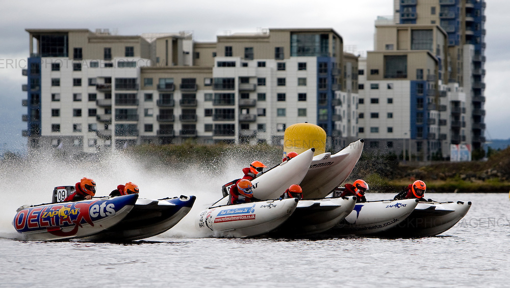 Zapcat Racing boats speed round Ocean Terminal waterfront  for the first leg of the Zapcat Racing Celtic Cup...Picture Michael Hughes/Maverick 23/8/09...