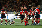 Benjamin Botica of Oyonnax and Liam Gill of Lyon during the French Championship Top 14 Rugby Union match between US Oyonnax Rugby and Lyon OU on April 28, 2018 at Charles Mathon stadium in Oyonnax, France - Photo Romain Biard / Isports / ProSportsImages / DPPI