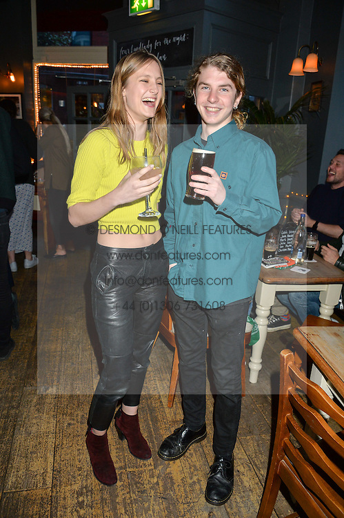 OLYMPIA CAMPBELL and TEDDY CAVENDISH at a quiz night hosted by Zoe Jordan to celebrate the launch of her men's ZJKNITLAB collection held at The Larrick Pub, 32 Crawford Place, London on 20th April 2016.