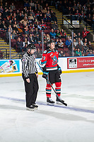 KELOWNA, BC - NOVEMBER 8:  Nolan Foote #29 of the Kelowna Rockets is ejected from the game by lineman Cody Wanner against the Medicine Hat Tigers at Prospera Place on November 8, 2019 in Kelowna, Canada. (Photo by Marissa Baecker/Shoot the Breeze)