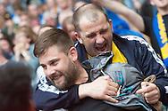 AFC Wimbledon fans celebrate Lyle Taylor's goal during the Sky Bet League 2 Play-off Final at Wembley Stadium, London<br /> Picture by Matt Wilkinson/Focus Images Ltd 07814 960751<br /> 30/05/2016