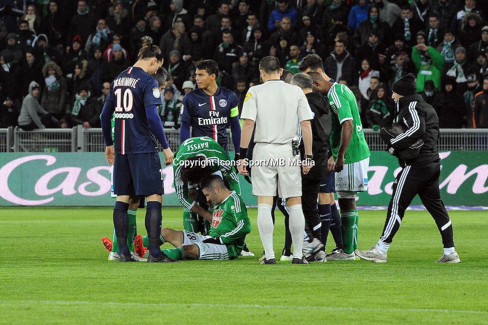 Blessure de Fabien LEMOINE - 25.01.2015 - Saint Etienne / PSG  - 22eme journee de Ligue1<br />Photo : Jean Paul Thomas / Icon Sport