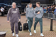 Leeds United Manager Marcelo Bielsa , Leeds United defender Ben White (5), on loan from Brighton & Hove Albion,  and Leeds United forward Patrick Bamford (9) arriving during the EFL Sky Bet Championship match between Huddersfield Town and Leeds United at the John Smiths Stadium, Huddersfield, England on 7 December 2019.