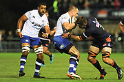 Jack Wilson is tackled by Hamish Watson during the Rugby Friendly match between Edinburgh Rugby and Bath Rugby at Meggetland Sports Compex, Edinburgh, Scotland on 17 August 2018.
