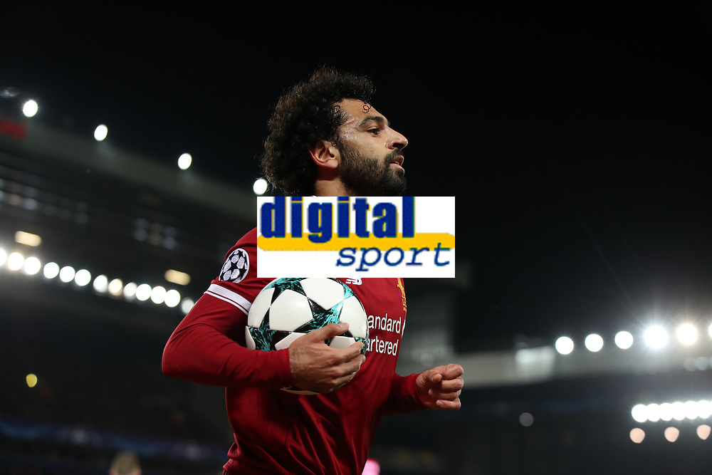Football - 2017 / 2018 UEFA Champions League - Group E: Liverpool vs. NK Maribor<br /> <br /> Mohamed Salah of Liverpool at Anfield.<br /> <br /> COLORSPORT/LYNNE CAMERON