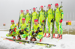 Women team: Andreja Mali, Teja Gregorin and Anja Erzen; Men team: Lenart Oblak, Peter Dokl, Klemen Bauer, Jakov Fak, Janez Maric and Simon Kocevar during media day of Slovenian biathlon team before new season 2013/14 on November 14, 2013 in Rudno polje, Pokljuka, Slovenia. Photo by Vid Ponikvar / Sportida