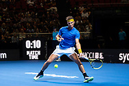 SYDNEY, NSW - JANUARY 07: Rafael Nadal (ESP) hits a forehand at The Sydney FAST4 Tennis Showdown on January 07, 2018, at Qudos Bank Arena in Homebush, Australia. (Photo by Speed Media/Icon Sportswire)