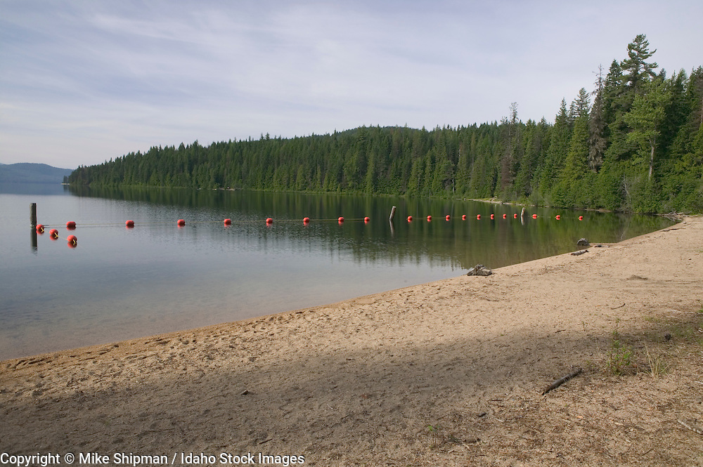 Priest Lake, Tule Bay, Beaver Creek Campground, swimming beach, Bonner County, Kaniksu National Forest, Idaho, USA