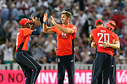 Wicket - Liam Plunkett of England celebrates taking the final wicket to beat Australia during the International T20 match between England and Australia at Edgbaston, Birmingham, United Kingdom on 27 June 2018. Picture by Graham Hunt.