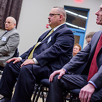 Chief of Police candidates Fred Thompson, left, Jeffrey Powell and Eric Rubin wait to speak during a meet and greet at the Second Street Event Center in Gallup Tuesday.