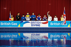 The divers are introduced ahead of the Mens 10m Platform Final - Photo mandatory by-line: Rogan Thomson/JMP - 07966 386802 - 22/02/2015 - SPORT - DIVING - Plymouth Life Centre, England - Day 3 - British Gas Diving Championships 2015.