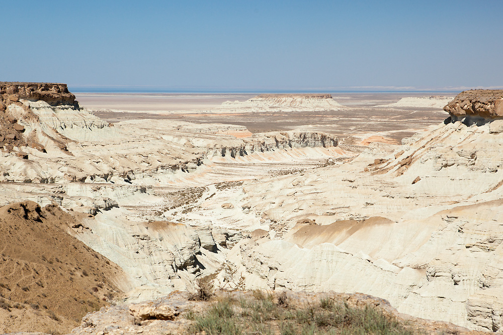 A vista of Yangikala Canyon in northern Turkmenistan near the Caspian Sea