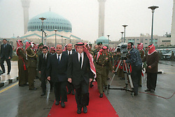 New King Abdallah (or Abdullah) sworn in as new King and receives congratulations at the Parliament, in Amman, Jordan on February 7, 1999. Twenty years ago, end of January and early February 1999, the Kingdom of Jordan witnessed a change of power as the late King Hussein came back from the United States of America to change his Crown Prince, only two weeks before he passed away. Photo by Balkis Press/ABACAPRESS.COM