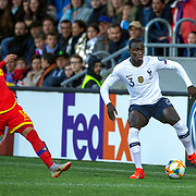 ANDORRA LA VELLA, ANDORRA. June 1. Ferland Mendy #3 of France defended by Jesus Rubio #18 of Andorra during the Andorra V France 2020 European Championship Qualifying, Group H match at the Estadi Nacional d'Andorra on June 11th 2019 in Andorra (Photo by Tim Clayton/Corbis via Getty Images)