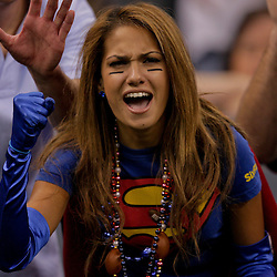 2009 October 18: New York Giants fan Reby Sky of New York cheers from the stands during a 48-27 win by the New Orleans Saints over the New York Giants at the Louisiana Superdome in New Orleans, Louisiana.