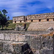 Architectural detail of Puc style. Uxmal. Yucatan, Mexico.