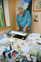 One of several village artists Brian Hardgrave, pictured in his studio. Kilham village East Yorkshire