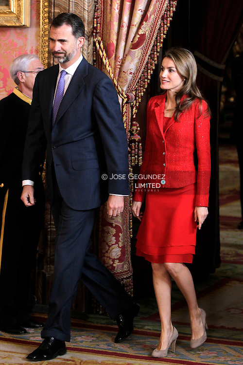 Princess Letizia of Spain and Prince Felipe of Spain attend a lunch for the 'Cervantes Award 2013' delivered to Jose Manuel Caballero Bonald at The Royal Palace on April 22, 2013 in Madrid, Spain
