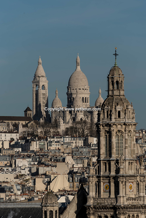 France. Paris. 9th district. elevated view on Paris cityscape and rooftops view from from the terrace  of the Printemps department store  panorama de paris et les toits vu depuis la terrasse du printemps hausmann,