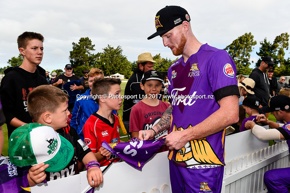 Ben Stokes of Canterbury  with Fans during the Burger King Super Smash T20 Cricket Match Canterbury Kings v Central Districts Stags, Mainpower Oval, Rangiora, New Zealand, 22nd December 2017.Copyright photo: John Davidson / www.photosport.nz