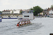 Henley, Great Britain.  Henley Royal Regatta. M8+, Berliner Ruderclub and Olympische Ruder Club, Rostock, GER, [Berks] cross the Finish Line, ahead of The English RC & St Petersburg University, RUS [Bucks], in the semi-final, of the Ladies' Challenge Plate. River Thames Henley Reach.  Royal Regatta. River Thames Henley Reach.  Saturday  02/07/2011  [Mandatory Credit  Intersport Images] . HRR