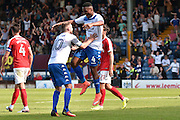 Bury Midfielder, Kelvin Etuhu (4) and Bury Midfielder, Danny Mayor (10) celebrate 2-0 during the EFL Sky Bet League 1 match between Bury and Charlton Athletic at the JD Stadium, Bury, England on 6 August 2016. Photo by Mark Pollitt.