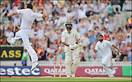 Steve Harmison (left) celebrates after bowling Hashim Amla during the fourth Test at the Oval on the 7th of August 2008..England v South Africa .Photo by Philip Brown.www.philipbrownphotos.com